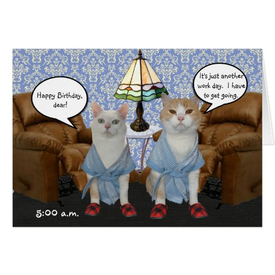 Customisable Funny Cats Husband Birthday Card