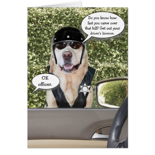 Customisable Funny Dog Motorcycle Cop Birthday Card