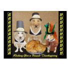 Customisable Funny Dogs Happy Thanksgiving Postcard