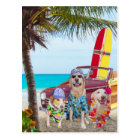 Customisable Funny Dogs/Labs on the Beach Postcard
