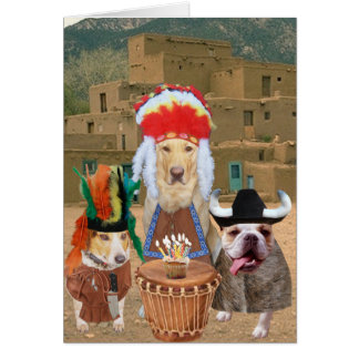 Customisable Funny Dogs Native American Theme Greeting Card