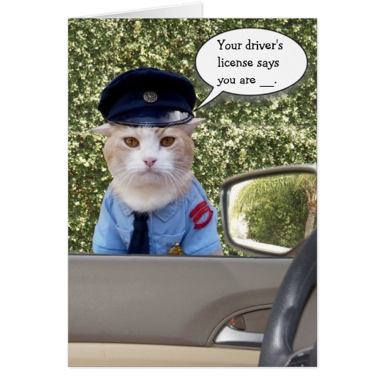 Customisable Funny Officer Cat Birthday Card