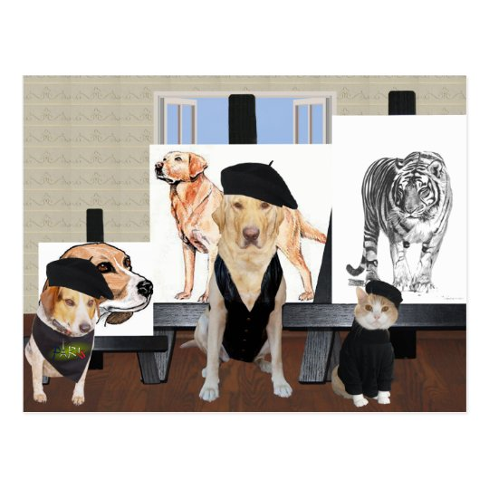 Customisable Funny Pet Art Class Postcard
