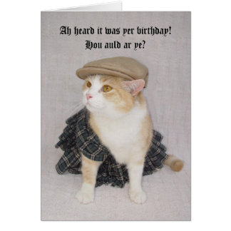 Customisable Funny Scottish Fold Scottish Birthday Greeting Card