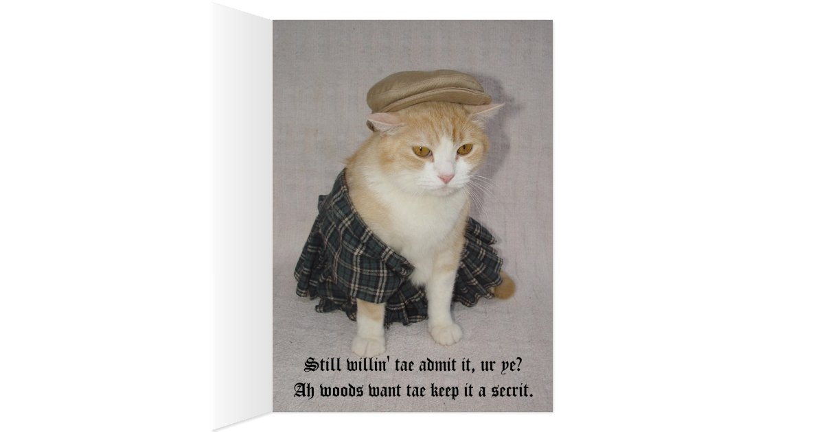 Customisable Funny Scottish Fold Scottish Birthday Card
