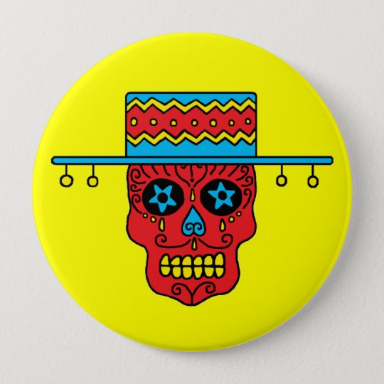Customisable Gaucho Sugar Skull 10 Cm Round Badge