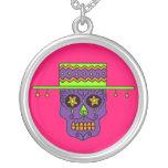 Customisable Gaucho Sugar Skulls Round Pendant Necklace
