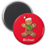 Customisable Gingerbread Man 6 Cm Round Magnet
