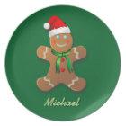 Customisable Gingerbread Man Cartoon Plate