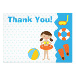 Customisable Girl's Birthday Pool Party Thank You Personalized Invite