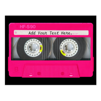 Customisable Girly Pink Cassette Tape Postcard