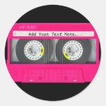 Customisable Girly Pink Cassette Tape Round Sticker