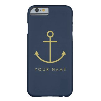 Customisable Gold Anchor Blue iPhone Case