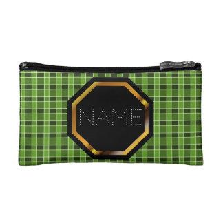Customisable Green Plaid Cosmetics Bag