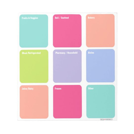 Customisable Grocery Shopping List Note Pad