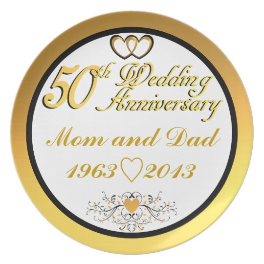 Customisable Happy 5oth Anniversary Mum & Dad Plate