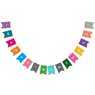 Bunting Flags - Customizable Happy Birthday Colorful Party Banner