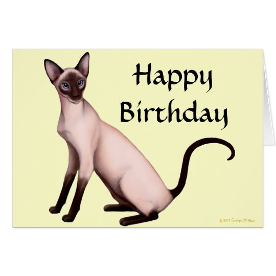 Customisable Happy Birthday Siamese Cat Card