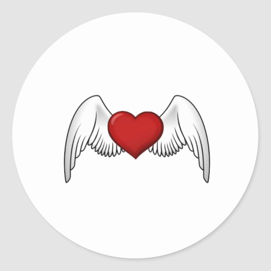 Customisable Heart with Wings Stickers