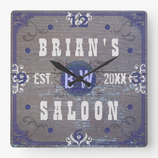 Customisable Home Bar Beer Saloon Square Wall Clock