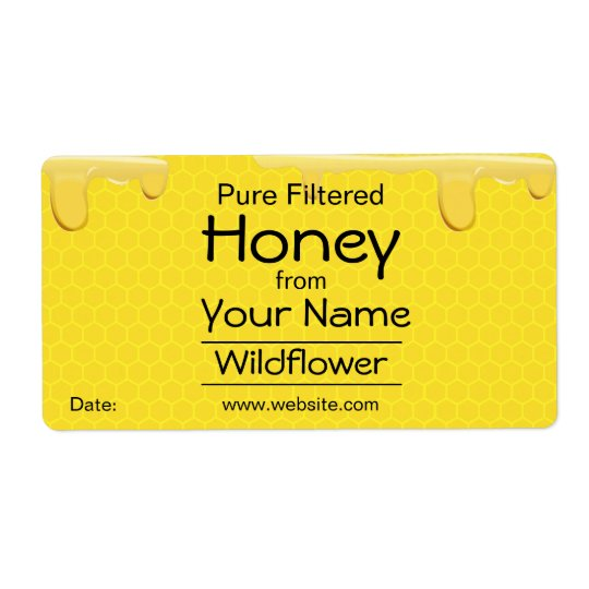 Customisable Honey Labels Honeycomb Add Your Name