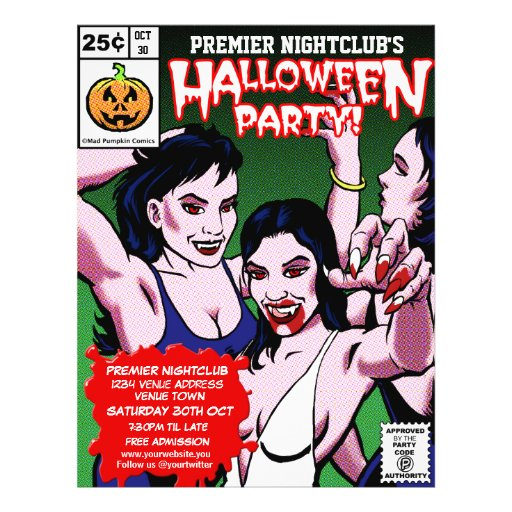 Customisable Horror Comic Style Halloween Party Full Color Flyer