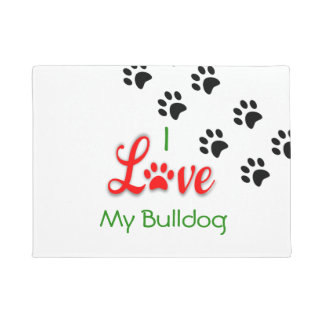 "Customisable ""I Love My Bulldog"" Door Mat"