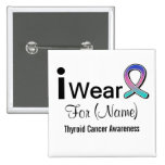 Customisable I Wear Thyroid Cancer Ribbon Button