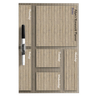 Customisable kids homework planner rustic dry erase board