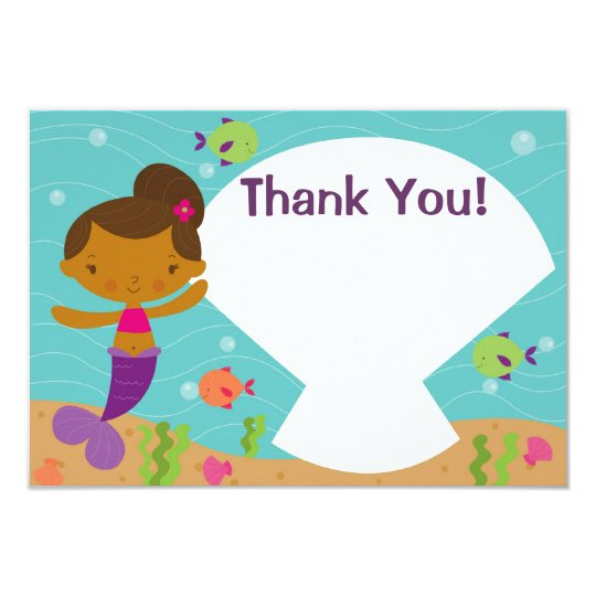 Customisable Kids Mermaid Party Thank You Card