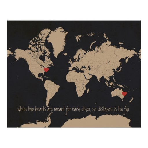 Customisable Love & Distance World Map Poster