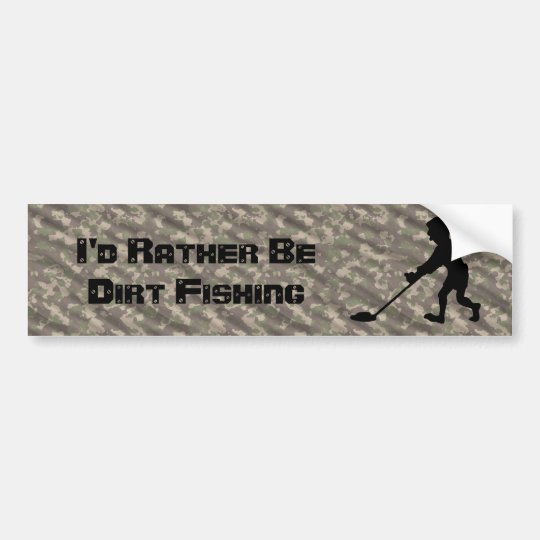 Customisable Man Metal Detecting Silhouette Bumper Sticker
