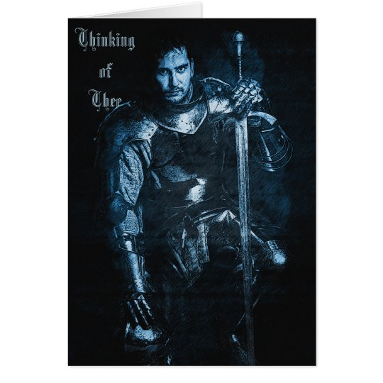 Customisable Mediaeval 'Blue Knight' Greeting Card