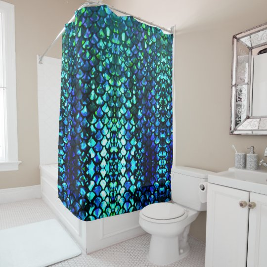 customisable mermaid scales shower curtain