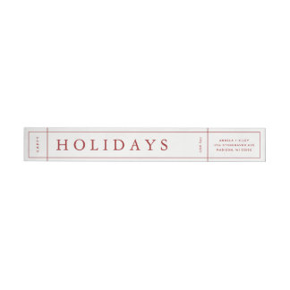 Customisable Modern Christmas Envelope Label - Red