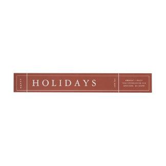 Customisable Modern Red Christmas Envelope Label