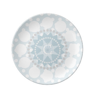 Customisable Monogram Circles Porcelain Plate