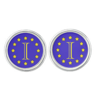 Customisable Monogram EU/Brexit Round Cufflinks