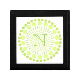 Customisable Monogram Lime Green Circle Box