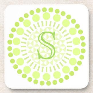 Customisable Monogram Lime Green Circle Coasters