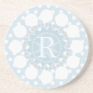 Customisable Monogram Polka Dot Sandstone Coaster