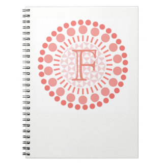Customisable Monogram Red Circles Spiral Notebook