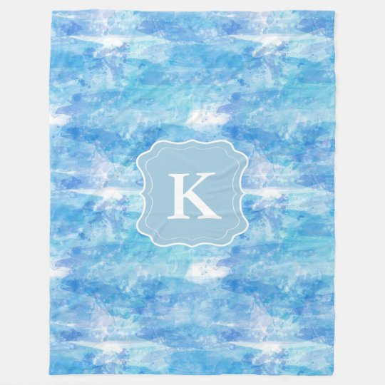 Customisable Monogram Watercolor, Ocean Blue Fleece Blanket