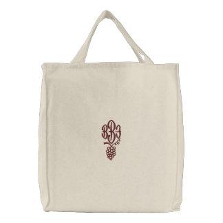 Customisable Monogram Wine Embroidered Bag