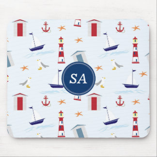 Customisable Monogrammed Nautical Back to School Mouse Mat