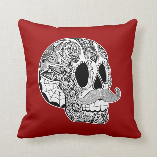 Customisable Moustache Sugar Skull Throw Pillow