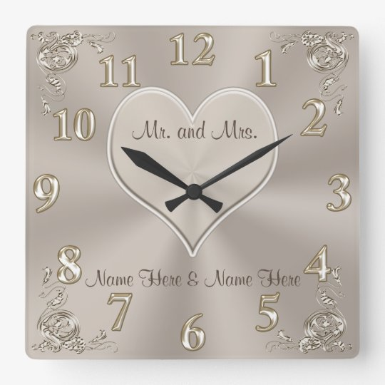 Customisable Mr. and Mrs. Gifts Champagne Clock