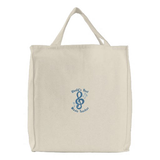 Customisable Music Notes Embroidered Tote