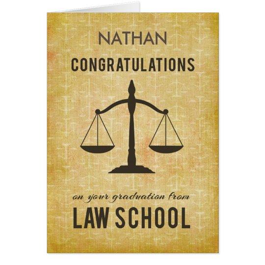 Customisable Name, Law School Graduation Congratul Card