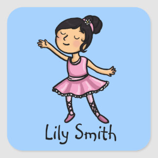 Customisable name sticker Cartoon ballet dancer